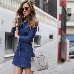 Zara XS long sleeve blue denim buttoned mini dress